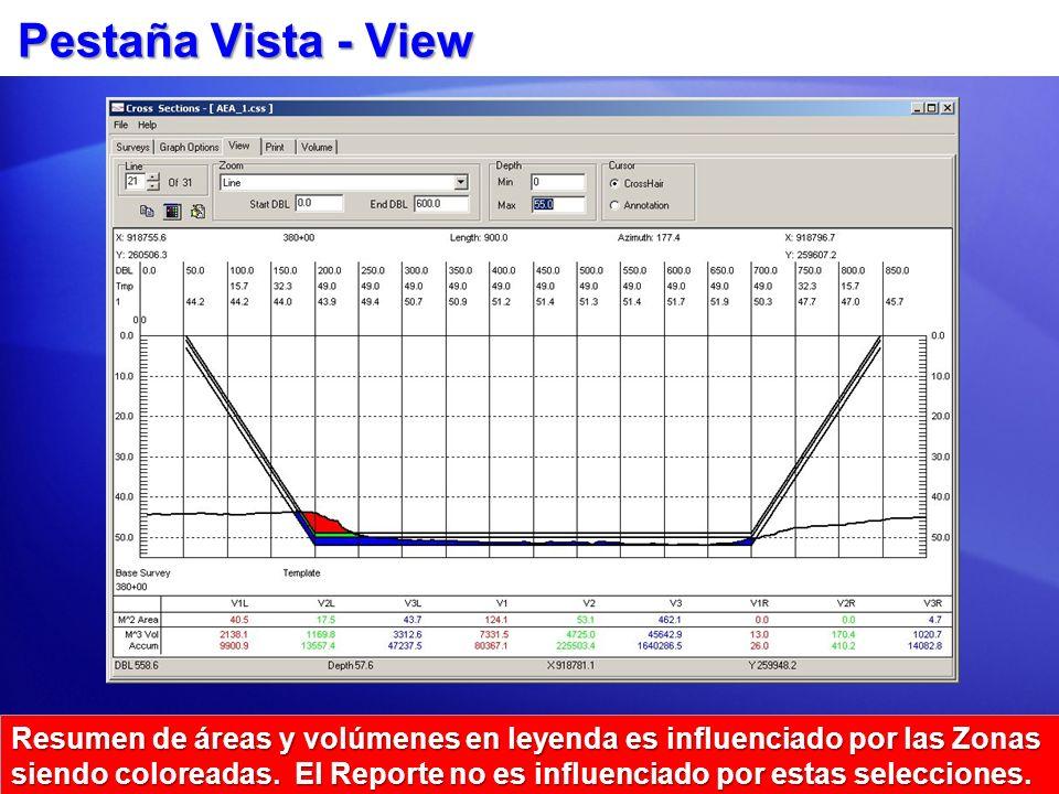 Pestaña Vista - View Resumen de áreas y volúmenes en leyenda es influenciado por las Zonas siendo coloreadas. El Reporte no es influenciado por estas