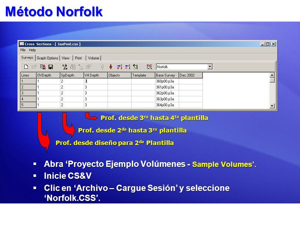 Método Norfolk Abra Proyecto Ejemplo Volúmenes - Sample Volumes. Abra Proyecto Ejemplo Volúmenes - Sample Volumes. Inicie CS&V Inicie CS&V Clic en Arc