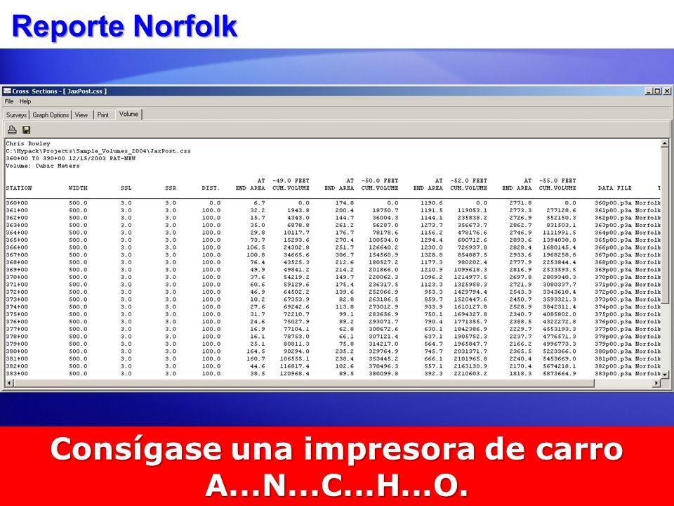 Reporte Norfolk Consígase una impresora de carro A...N...C...H...O.