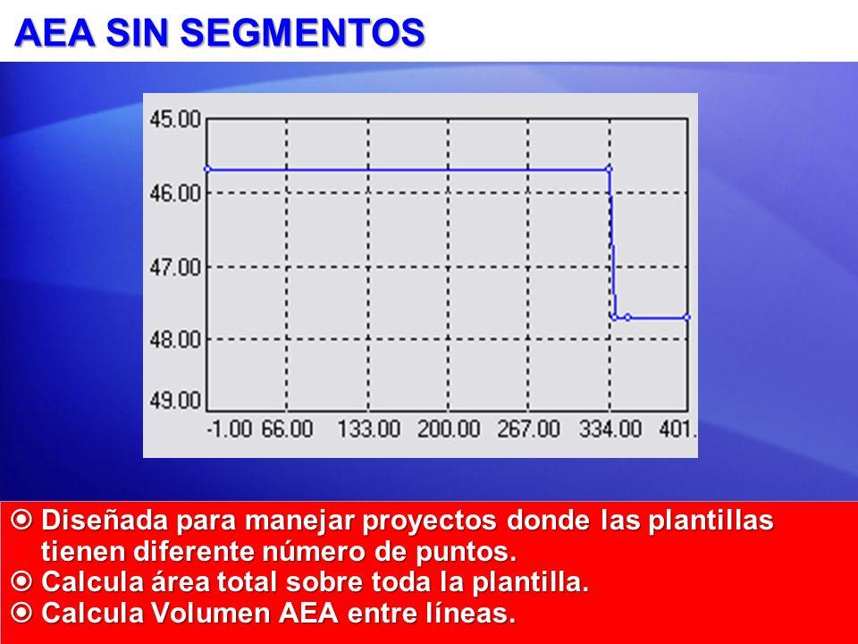 AEA SIN SEGMENTOS Diseñada para manejar proyectos donde las plantillas tienen diferente número de puntos. Diseñada para manejar proyectos donde las pl