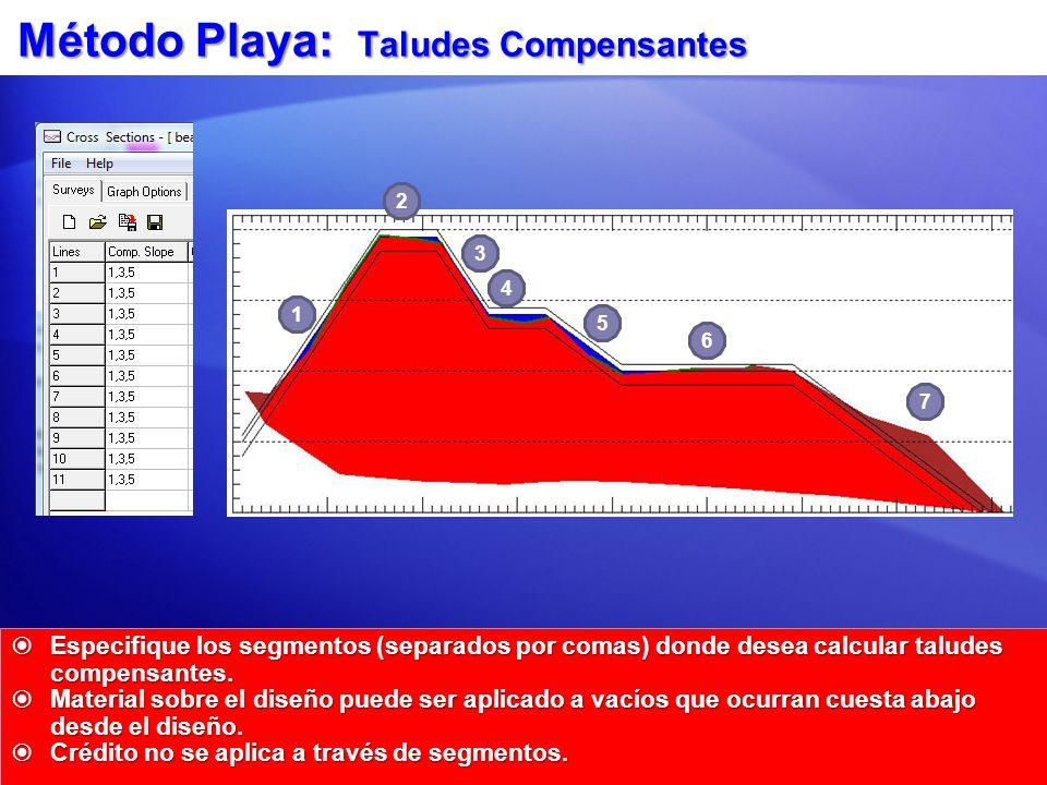 Método Playa: Taludes Compensantes Especifique los segmentos (separados por comas) donde desea calcular taludes compensantes. Especifique los segmento