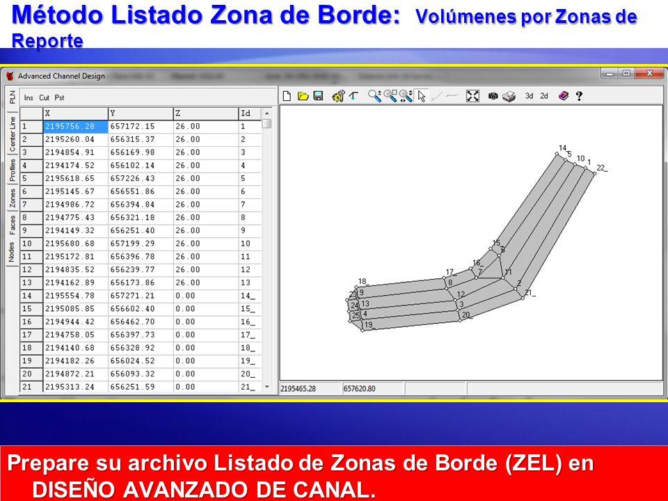 Método Listado Zona de Borde: Volúmenes por Zonas de Reporte Prepare su archivo Listado de Zonas de Borde (ZEL) en DISEÑO AVANZADO DE CANAL.