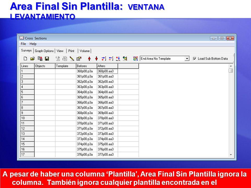 Area Final Sin Plantilla: VENTANA LEVANTAMIENTO A pesar de haber una columna Plantilla, Area Final Sin Plantilla ignora la columna. También ignora cua