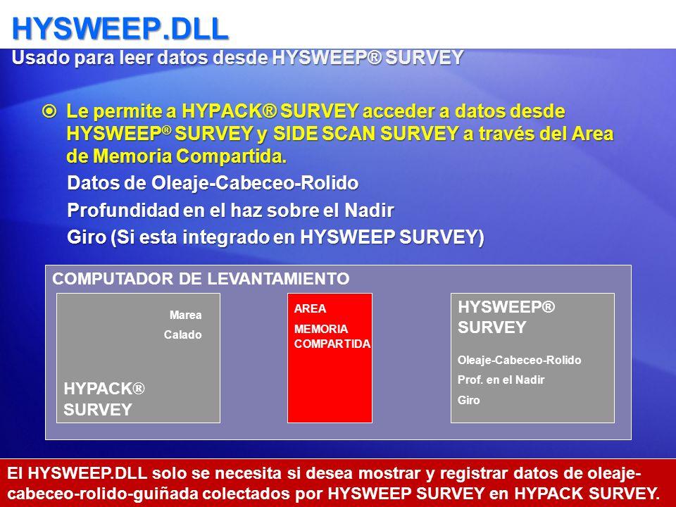 HYSWEEP.DLL Usado para leer datos desde HYSWEEP® SURVEY Le permite a HYPACK® SURVEY acceder a datos desde HYSWEEP ® SURVEY y SIDE SCAN SURVEY a través