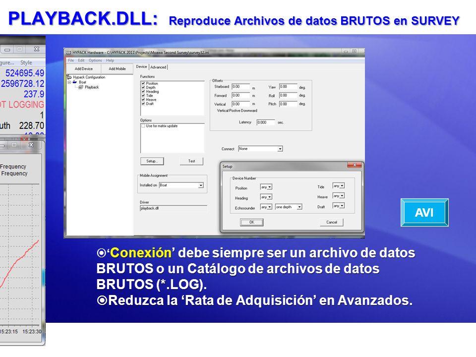 PLAYBACK.DLL: Reproduce Archivos de datos BRUTOS en SURVEY Conexión debe siempre ser un archivo de datos BRUTOS o un Catálogo de archivos de datos BRU