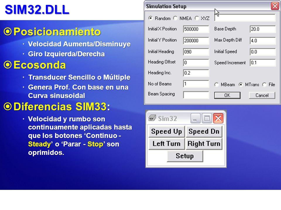 SIM32.DLL Posicionamiento Posicionamiento Velocidad Aumenta/Disminuye Velocidad Aumenta/Disminuye Giro Izquierda/Derecha Giro Izquierda/Derecha Ecoson