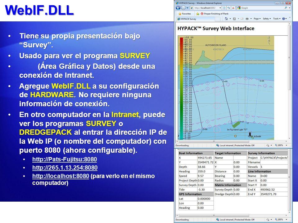 WebIF.DLL Tiene su propia presentación bajo Survey.Tiene su propia presentación bajo Survey. Usado para ver el programa SURVEYUsado para ver el progra
