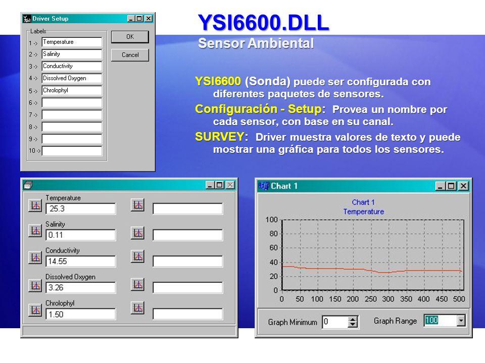 YSI6600.DLL Sensor Ambiental YSI6600 (Sonda) puede ser configurada con diferentes paquetes de sensores. Configuración - Setup: Provea un nombre por ca