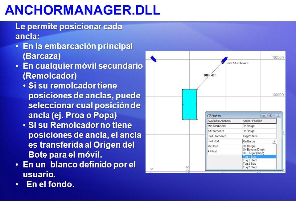 ANCHORMANAGER.DLL Le permite posicionar cada ancla: En la embarcación principal (Barcaza)En la embarcación principal (Barcaza) En cualquier móvil secu
