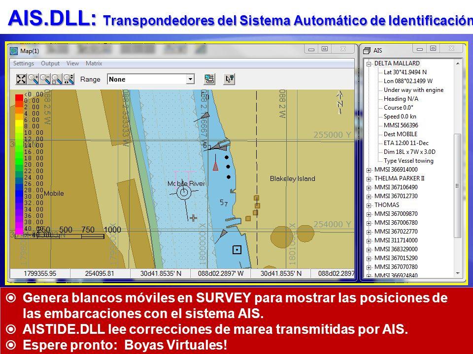 AIS.DLL: Transpondedores del Sistema Automático de Identificación Genera blancos móviles en SURVEY para mostrar las posiciones de las embarcaciones co