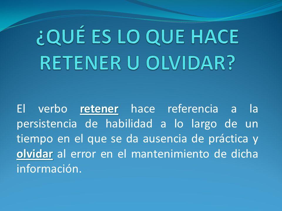 retener olvidar El verbo retener hace referencia a la persistencia de habilidad a lo largo de un tiempo en el que se da ausencia de práctica y olvidar