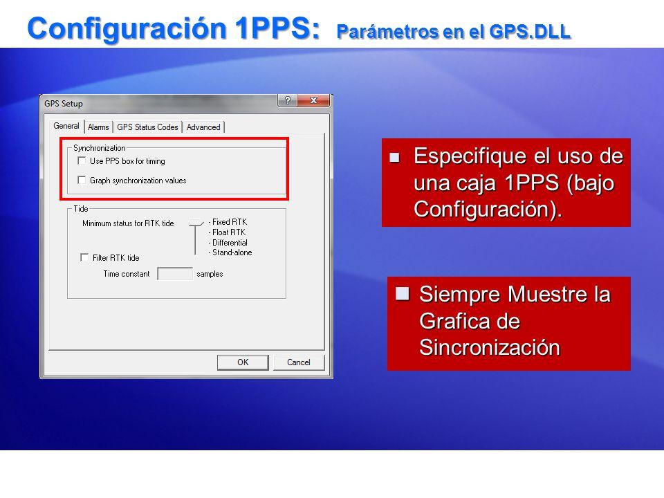 Configuración 1PPS: Parámetros en el GPS.DLL Siempre Muestre la Grafica de Sincronización Siempre Muestre la Grafica de Sincronización Especifique el