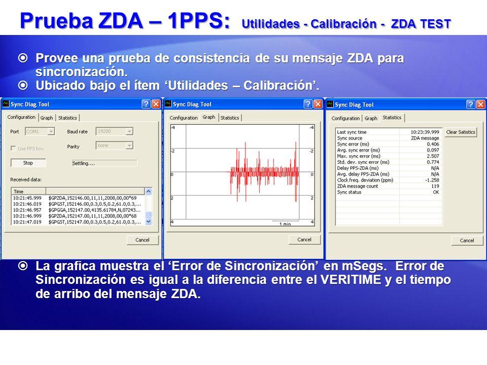 Prueba ZDA – 1PPS: Utilidades - Calibración - ZDA TEST Provee una prueba de consistencia de su mensaje ZDA para sincronización. Provee una prueba de c