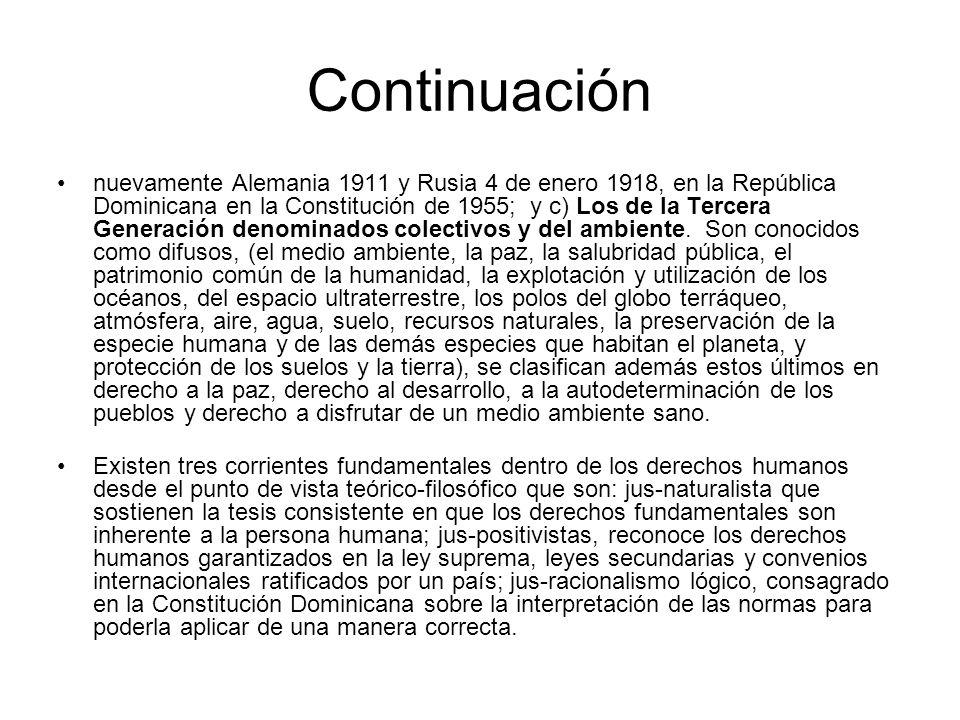 Continuación nuevamente Alemania 1911 y Rusia 4 de enero 1918, en la República Dominicana en la Constitución de 1955; y c) Los de la Tercera Generación denominados colectivos y del ambiente.
