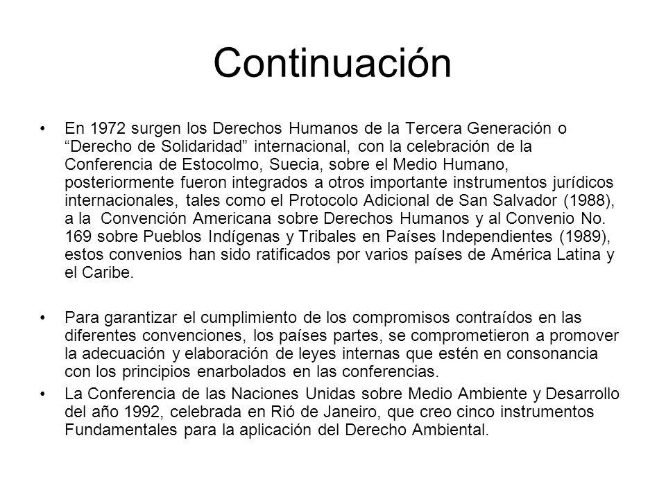 Continuación En 1972 surgen los Derechos Humanos de la Tercera Generación o Derecho de Solidaridad internacional, con la celebración de la Conferencia de Estocolmo, Suecia, sobre el Medio Humano, posteriormente fueron integrados a otros importante instrumentos jurídicos internacionales, tales como el Protocolo Adicional de San Salvador (1988), a la Convención Americana sobre Derechos Humanos y al Convenio No.