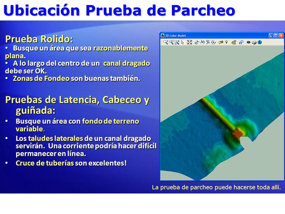 Prueba Cabeceo Sección de Prueba de Parcheo es cortada directamente sobre el nadir.