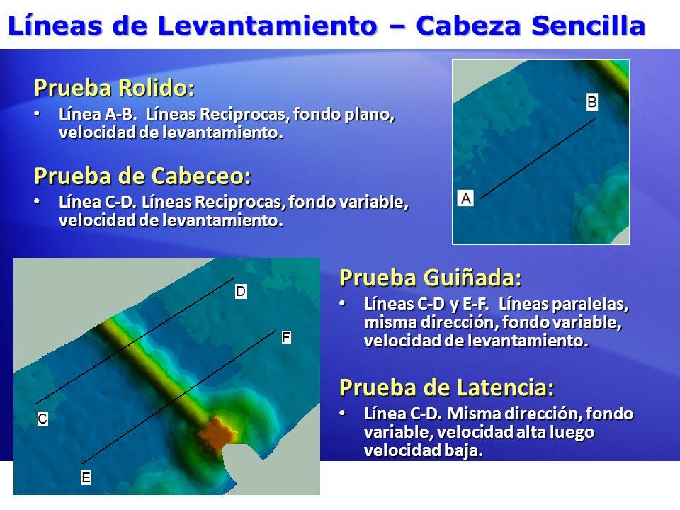 Líneas de Levantamiento – Cabeza Sencilla Pruebas de Cabeceo, guiñada y Latencia sobre una Pendiente Prueba de Cabeceo: Línea C-D.