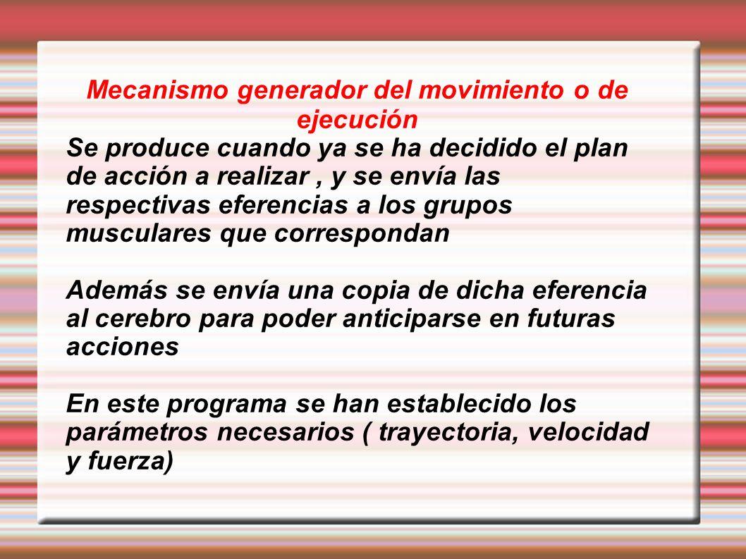 Mecanismo generador del movimiento o de ejecución Se produce cuando ya se ha decidido el plan de acción a realizar, y se envía las respectivas eferenc