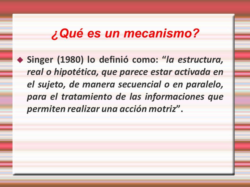 ¿Qué es un mecanismo? Singer (1980) lo definió como: la estructura, real o hipotética, que parece estar activada en el sujeto, de manera secuencial o