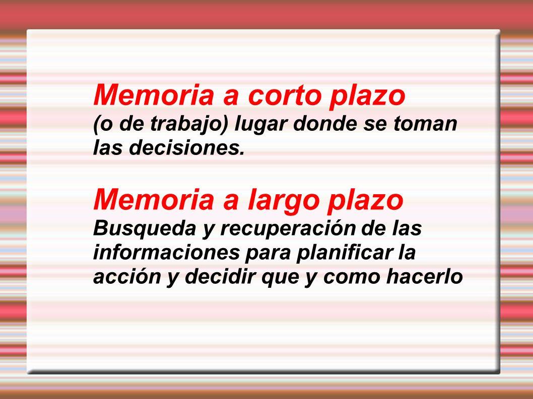 Memoria a corto plazo (o de trabajo) lugar donde se toman las decisiones. Memoria a largo plazo Busqueda y recuperación de las informaciones para plan
