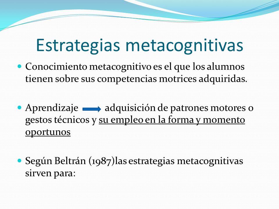 Estrategias metacognitivas Conocimiento metacognitivo es el que los alumnos tienen sobre sus competencias motrices adquiridas. Aprendizaje adquisición