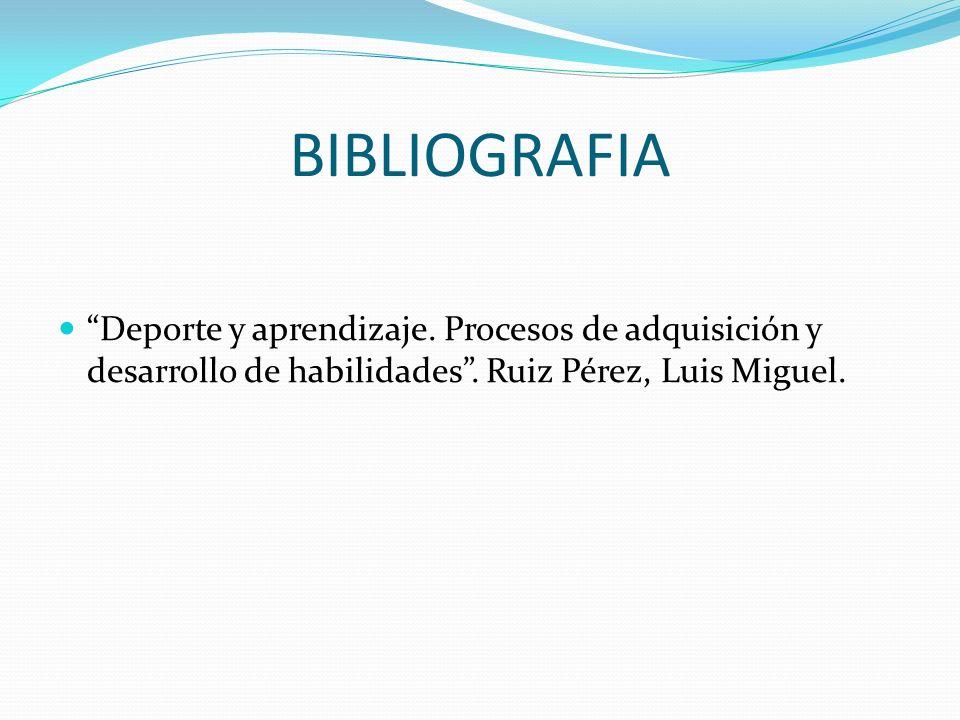 BIBLIOGRAFIA Deporte y aprendizaje. Procesos de adquisición y desarrollo de habilidades. Ruiz Pérez, Luis Miguel.
