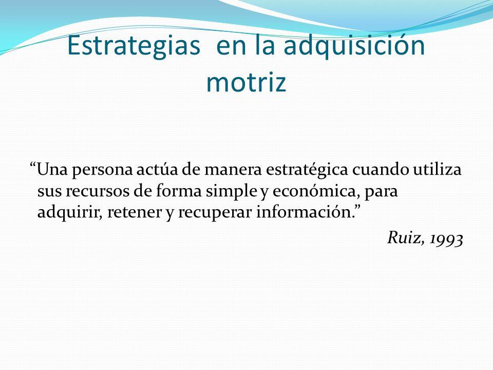 Estrategias en la adquisición motriz Una persona actúa de manera estratégica cuando utiliza sus recursos de forma simple y económica, para adquirir, r