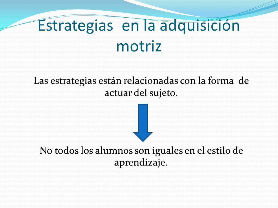 Estrategias en la adquisición motriz Las estrategias están relacionadas con la forma de actuar del sujeto. No todos los alumnos son iguales en el esti