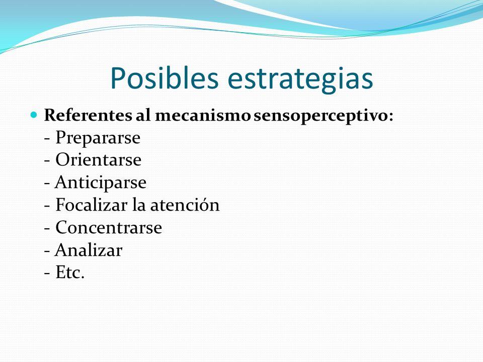 Posibles estrategias Referentes al mecanismo de toma de decisiones: - Analizar la tarea - Relajarse - Formarse la imagen en la mente - Comparar - Nombrar - Buscar - Economizar energía - Etc.