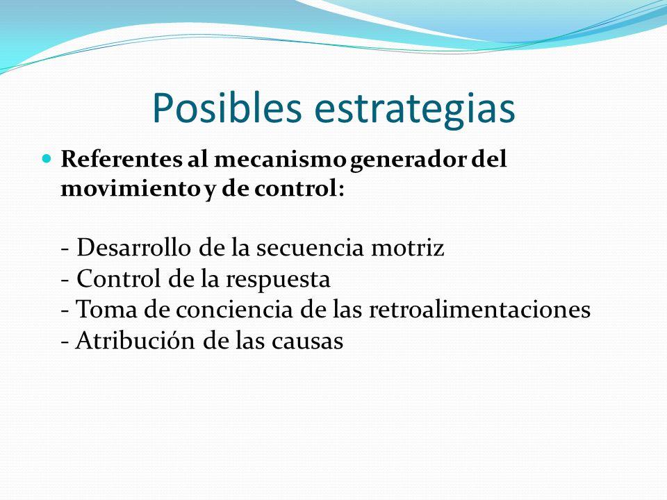 Posibles estrategias Referentes al mecanismo generador del movimiento y de control: - Desarrollo de la secuencia motriz - Control de la respuesta - To