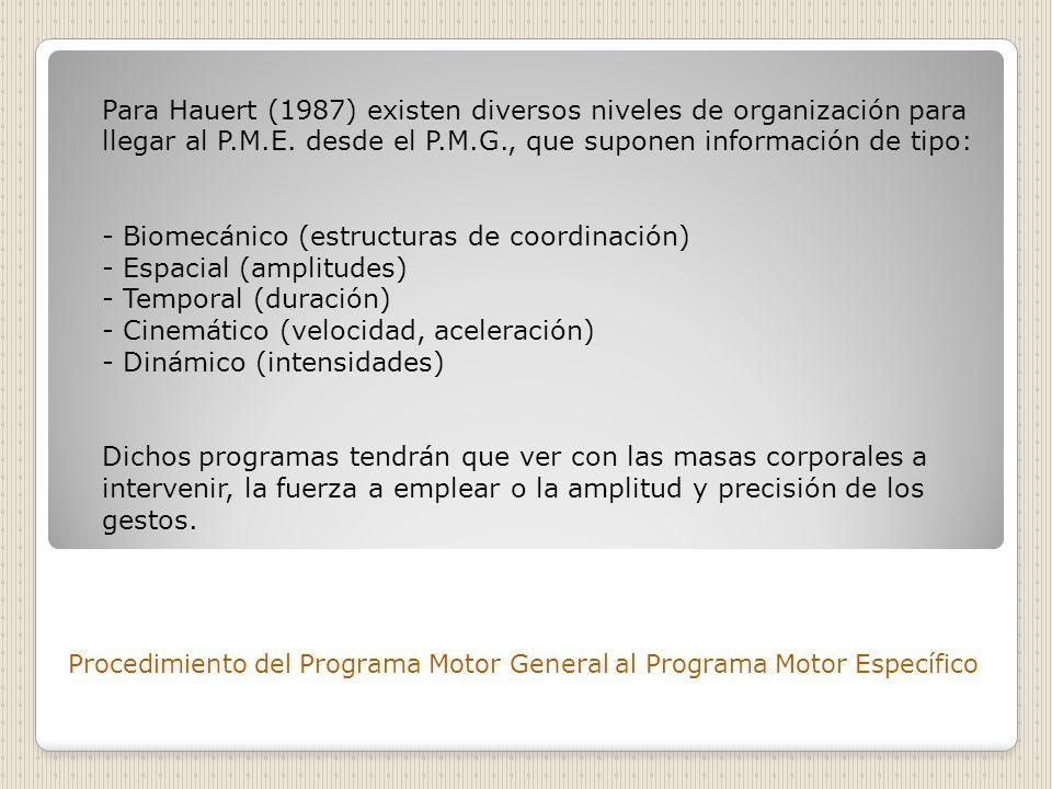 Procedimiento del Programa Motor General al Programa Motor Específico Para Hauert (1987) existen diversos niveles de organización para llegar al P.M.E