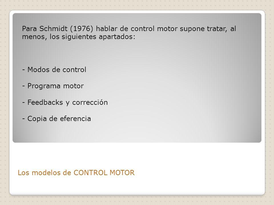 Los modelos de CONTROL MOTOR Para Schmidt (1976) hablar de control motor supone tratar, al menos, los siguientes apartados: - Modos de control - Progr