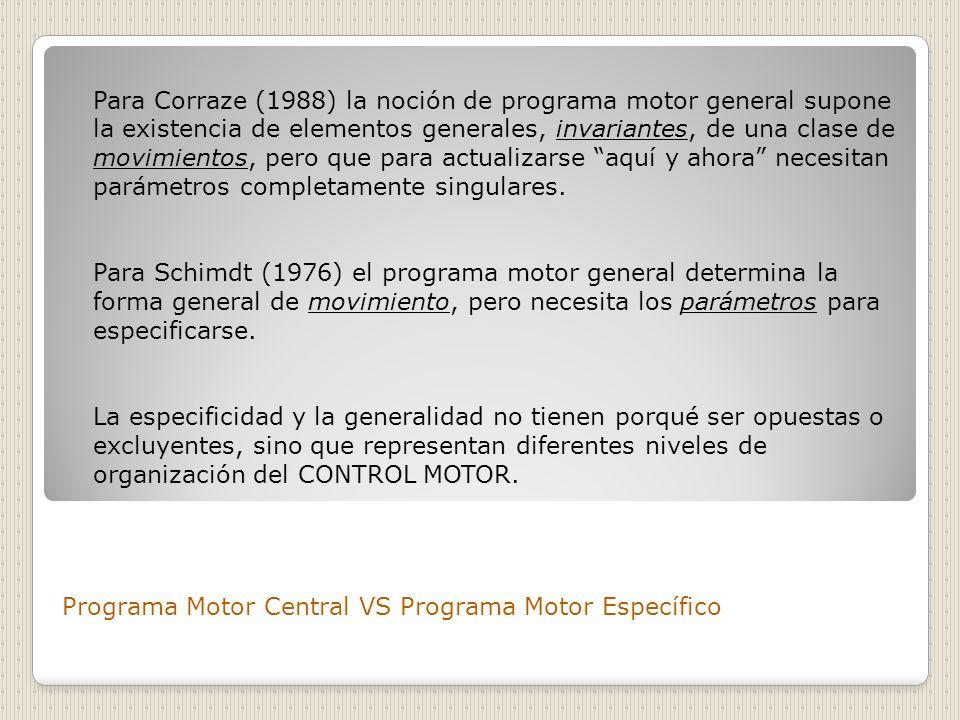 Programa Motor Central VS Programa Motor Específico Para Corraze (1988) la noción de programa motor general supone la existencia de elementos generale