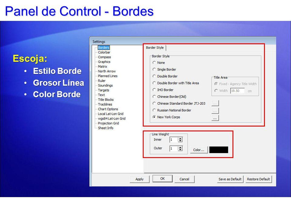 Panel de Control - Opciones Cartas El usuario puede seleccionar: Opción Color DXF.DGNOpción Color DXF.DGN Opciones S57Opciones S57