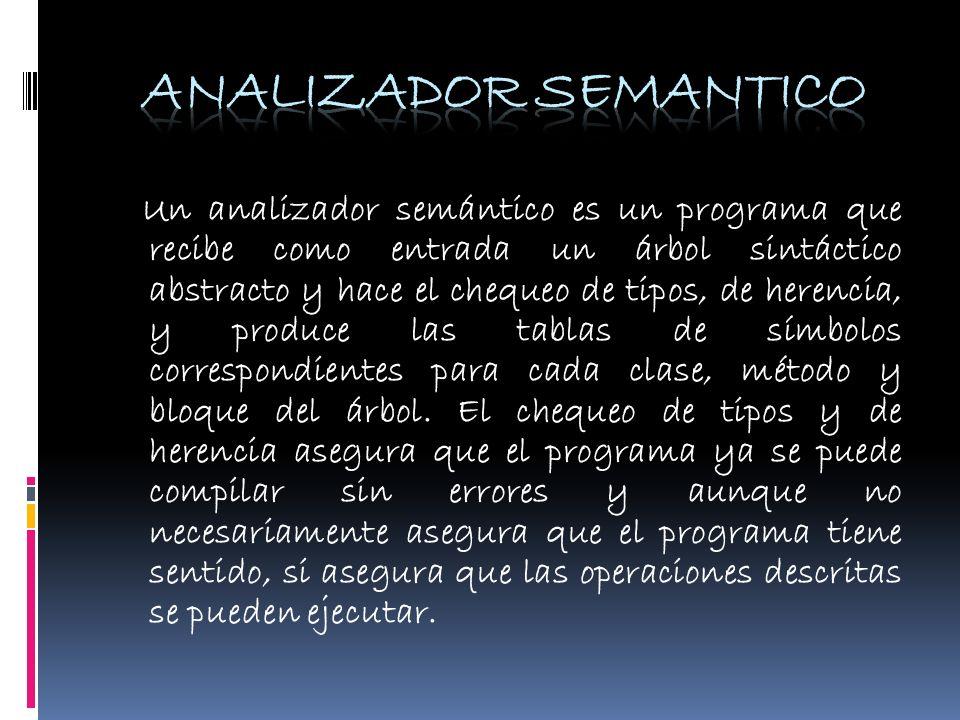 Un analizador semántico es un programa que recibe como entrada un árbol sintáctico abstracto y hace el chequeo de tipos, de herencia, y produce las ta
