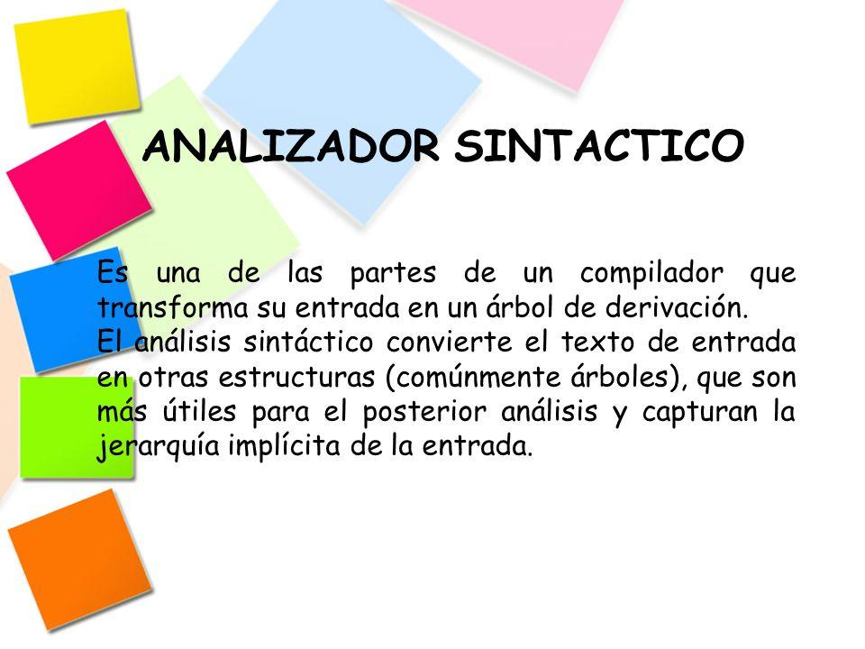 ANALIZADOR SINTACTICO Es una de las partes de un compilador que transforma su entrada en un árbol de derivación. El análisis sintáctico convierte el t