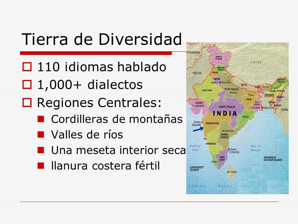 Tierra de Diversidad 110 idiomas hablado 1,000+ dialectos Regiones Centrales: Cordilleras de montañas Valles de ríos Una meseta interior seca llanura
