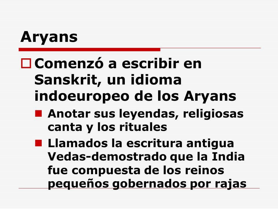 Aryans Comenzó a escribir en Sanskrit, un idioma indoeuropeo de los Aryans Anotar sus leyendas, religiosas canta y los rituales Llamados la escritura