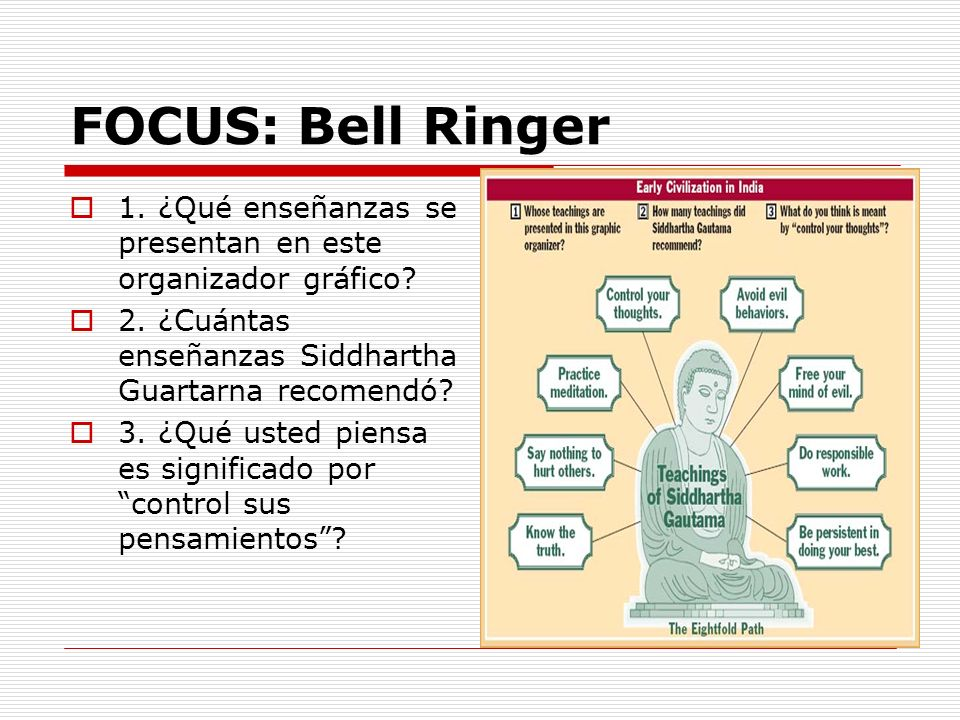 1. ¿Qué enseñanzas se presentan en este organizador gráfico? 2. ¿Cuántas enseñanzas Siddhartha Guartarna recomendó? 3. ¿Qué usted piensa es significad