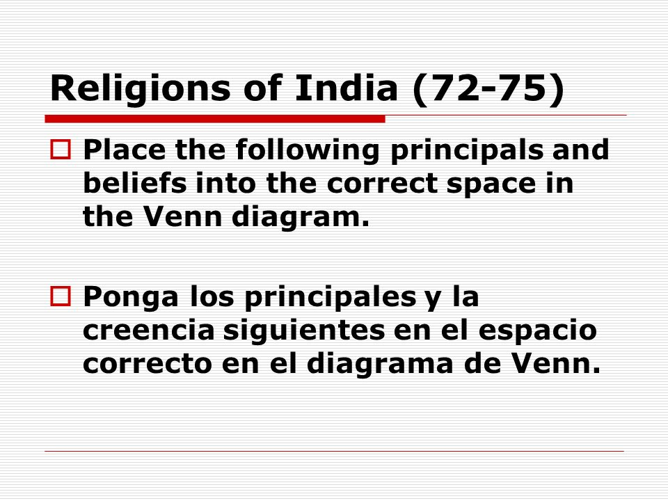 Religions of India (72-75) Place the following principals and beliefs into the correct space in the Venn diagram. Ponga los principales y la creencia