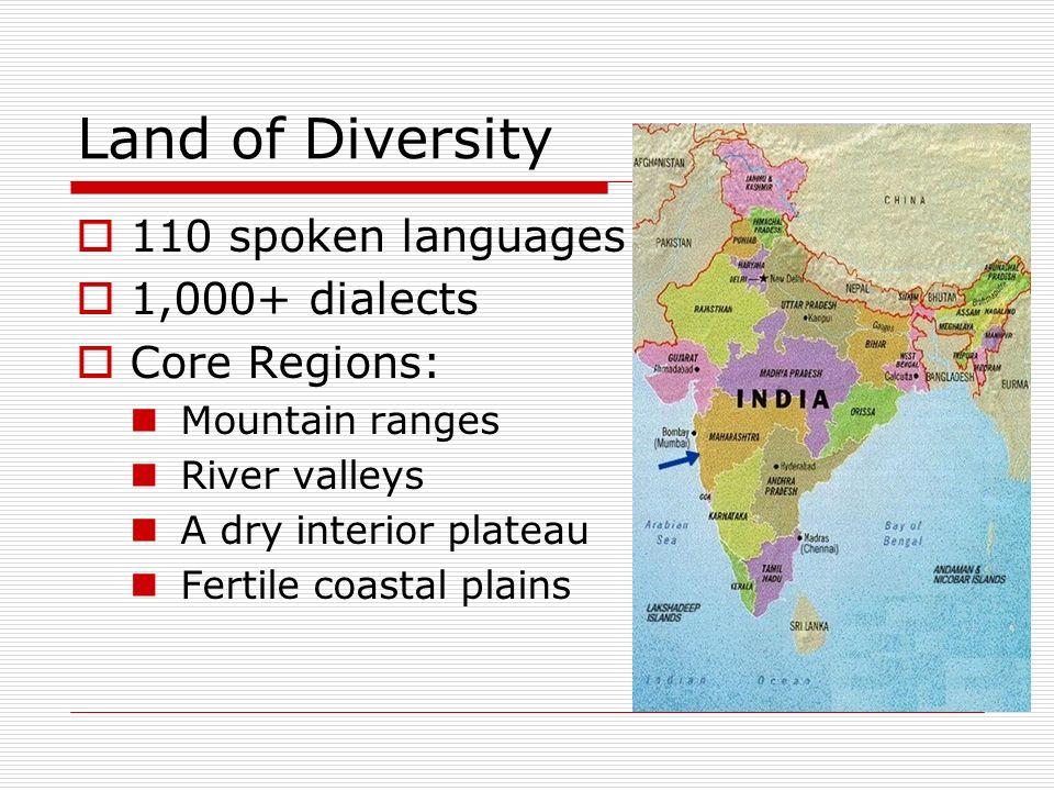 Tierra de Diversidad 110 idiomas hablado 1,000+ dialectos Regiones Centrales: Cordilleras de montañas Valles de ríos Una meseta interior seca llanura costera fértil