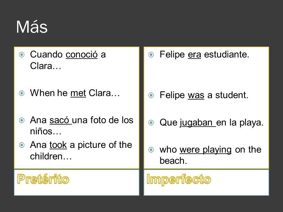 Más Cuando conoció a Clara… When he met Clara… Ana sacó una foto de los niños… Ana took a picture of the children… Felipe era estudiante. Felipe was a