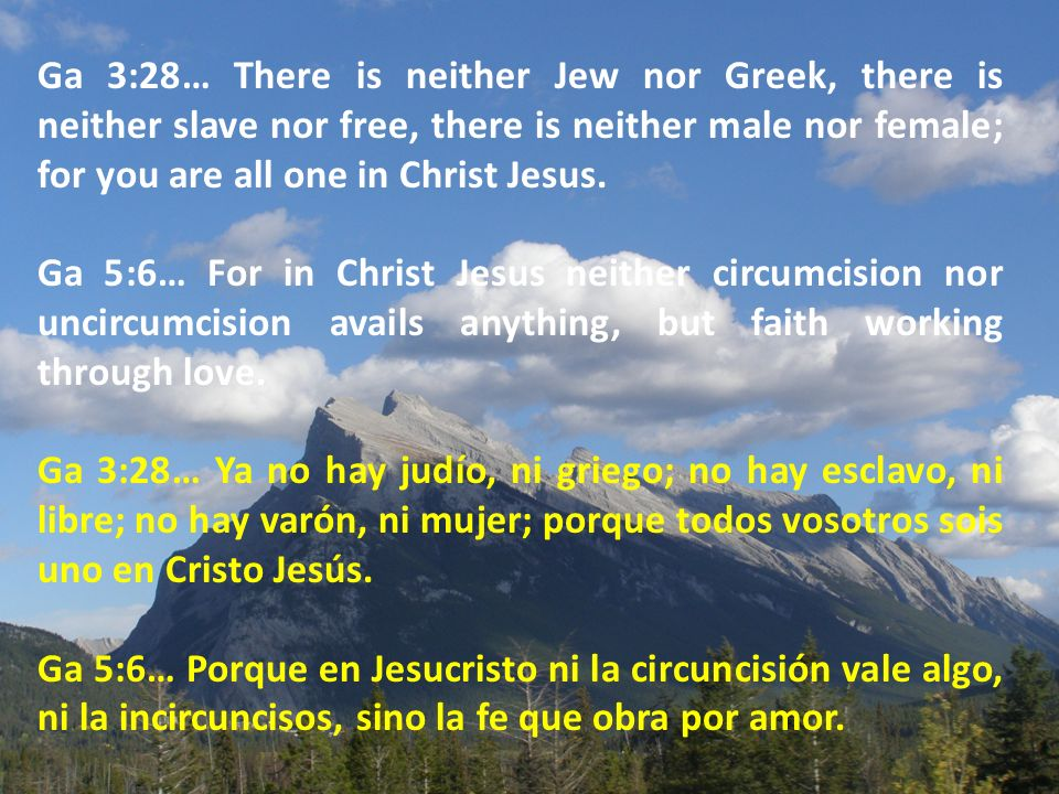 Ga 3:28… There is neither Jew nor Greek, there is neither slave nor free, there is neither male nor female; for you are all one in Christ Jesus.