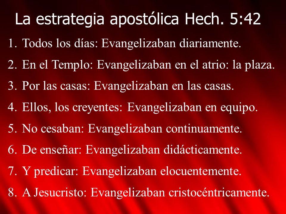 La estrategia apostólica Hech. 5:42 1.Todos los días: Evangelizaban diariamente. 2.En el Templo: Evangelizaban en el atrio: la plaza. 3.Por las casas: