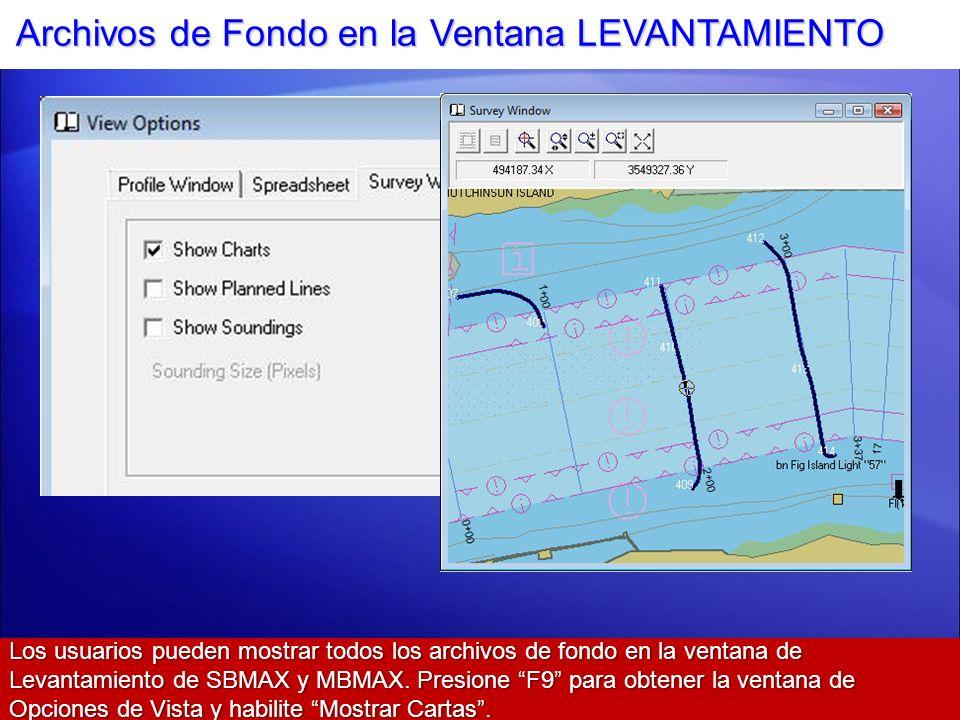 Archivos de Fondo en la Ventana LEVANTAMIENTO Los usuarios pueden mostrar todos los archivos de fondo en la ventana de Levantamiento de SBMAX y MBMAX.