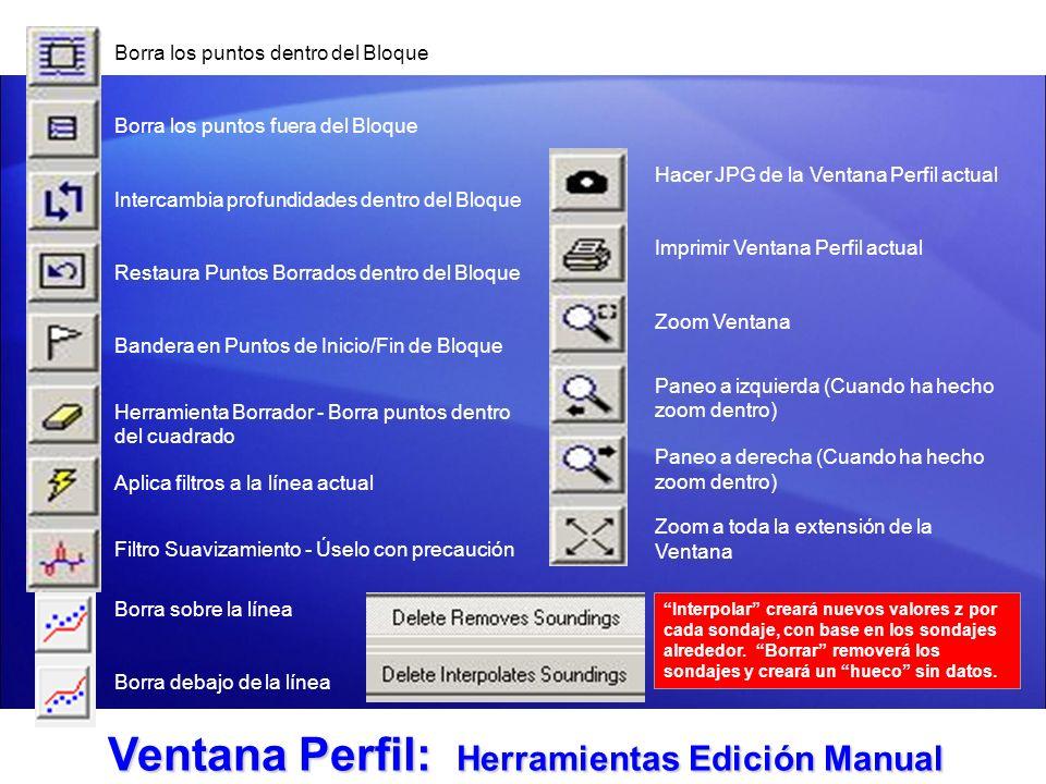 Ventana Perfil: Herramientas Edición Manual Borra los puntos dentro del Bloque Borra los puntos fuera del Bloque Intercambia profundidades dentro del