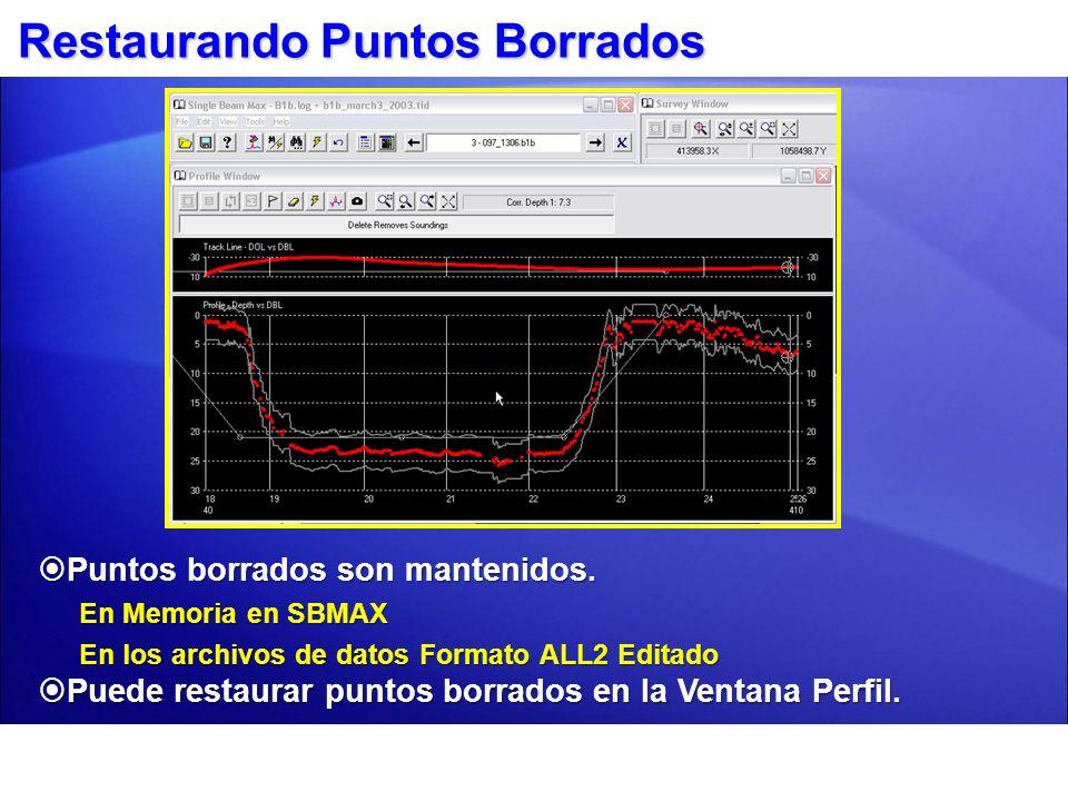 Restaurando Puntos Borrados Puntos borrados son mantenidos. Puntos borrados son mantenidos. En Memoria en SBMAX En los archivos de datos Formato ALL2