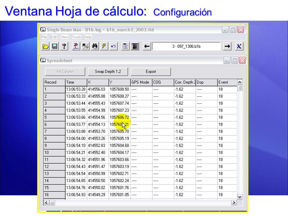 Ventana Hoja de cálculo: Exportar a Archivo TXT Configure su hoja de cálculo antes de exportar.