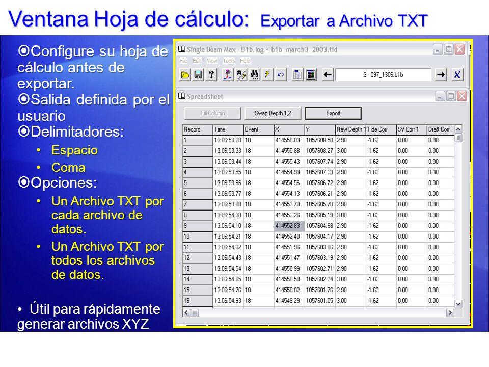 Ventana Hoja de cálculo: Exportar a Archivo TXT Configure su hoja de cálculo antes de exportar. Configure su hoja de cálculo antes de exportar. Salida