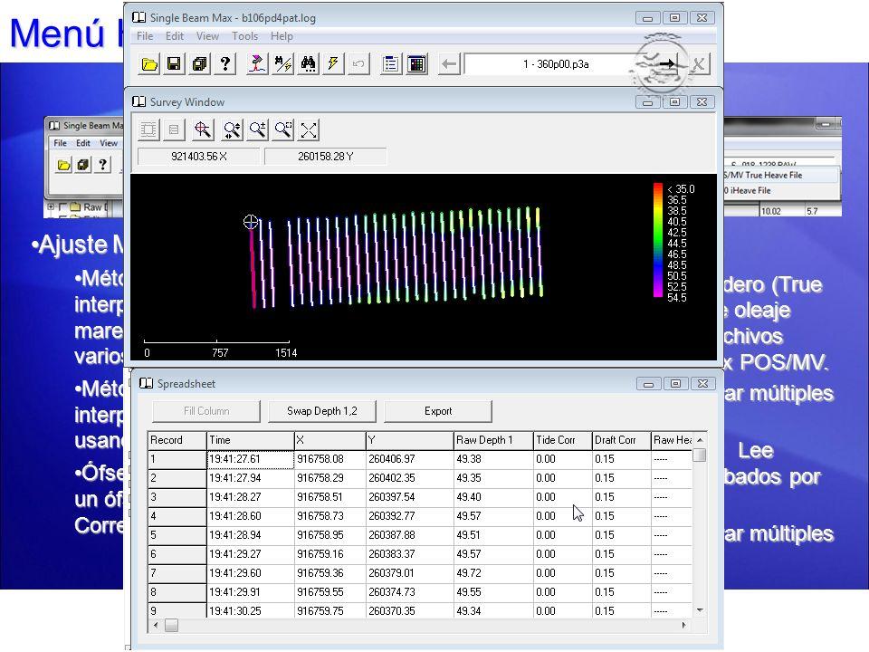 Menú Herramientas: Ajuste Calado Ajuste Calado Dinámico Genera nuevas correcciones de calado dinámico con base en la velocidad de la embarcación y la tabla de corrección definida por el usuario.